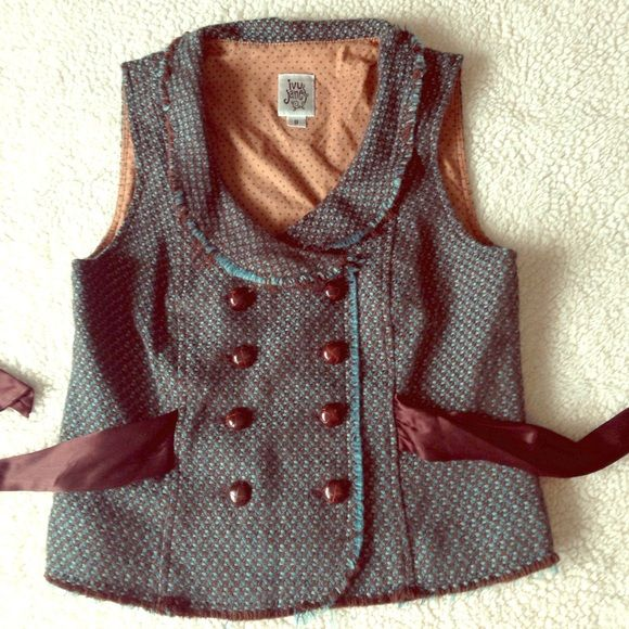 Distressed Military Vest Coverup A beautiful rich teal and chocolate color combo on this fully lined ivy jane vest. Self tie satin belt, 8 button closure and distressed hems throughout. Ivy Jane Jackets & Coats
