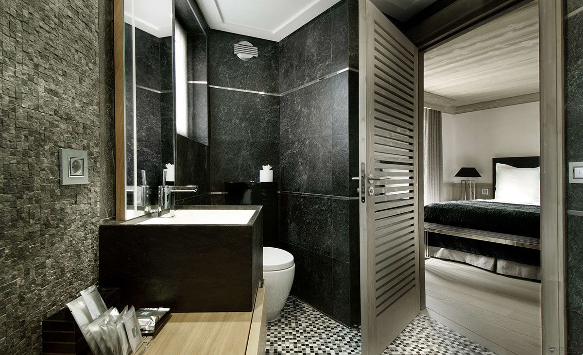Bathroom, Stone Sink, Marble Tiles, Chalet Black Pearl in Val d'Isre
