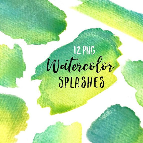 Watercolor Splash Clip Art Set Paint Blobs Blue Green Yellow