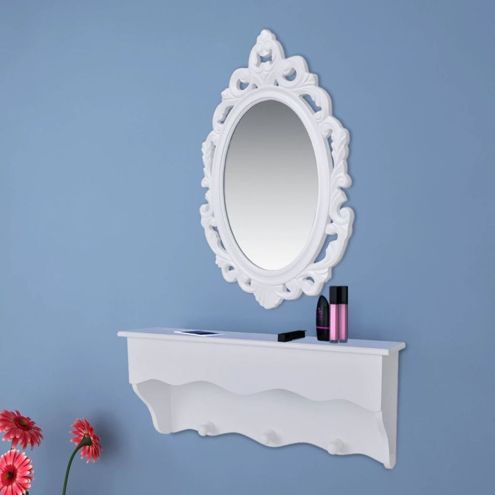 Details about stylish white wall shelf set for keys and jewelery