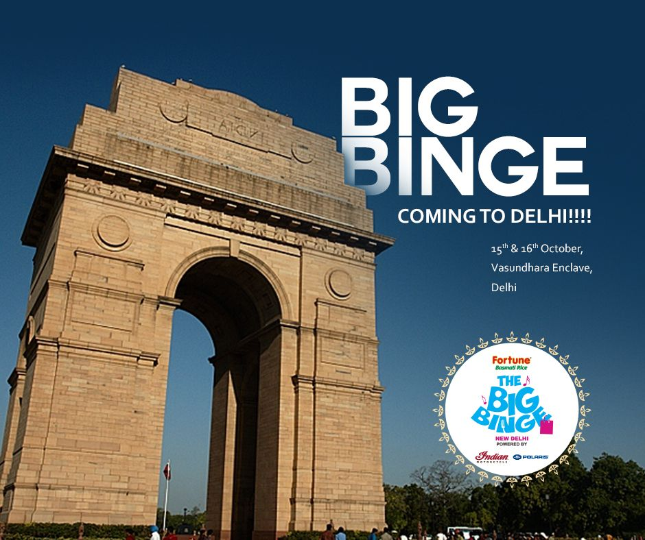 'Dilli hai Dilwalo ki!' 😍 How could Big Binge stay away from such hearty people of Delhi!  Big Binge is soon coming to Delhi, Folks!  After the tremendous response in Mumbai, Pune and Dehradun, Big Binge has now turned to Delhi!  This Package of Vibrant Flea Markets, Sumptuous Food and Blissful Live Music awaits you this Diwali!