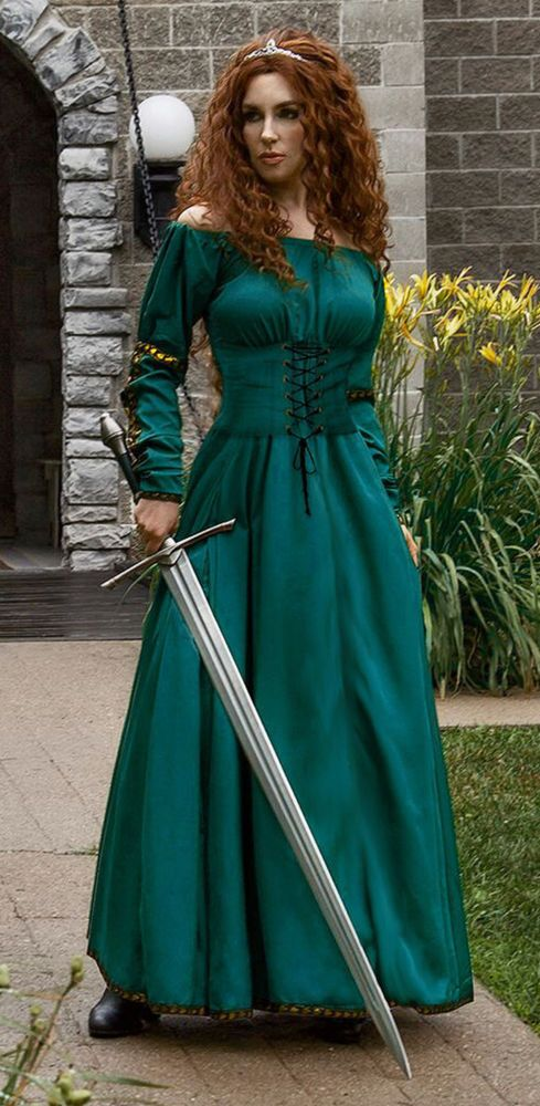 Scottish Warrior Queen Renaissance Medieval Merida Dress Halloween Costume  sc 1 st  Pinterest & Scottish Warrior Queen Renaissance Medieval Merida Dress Halloween ...