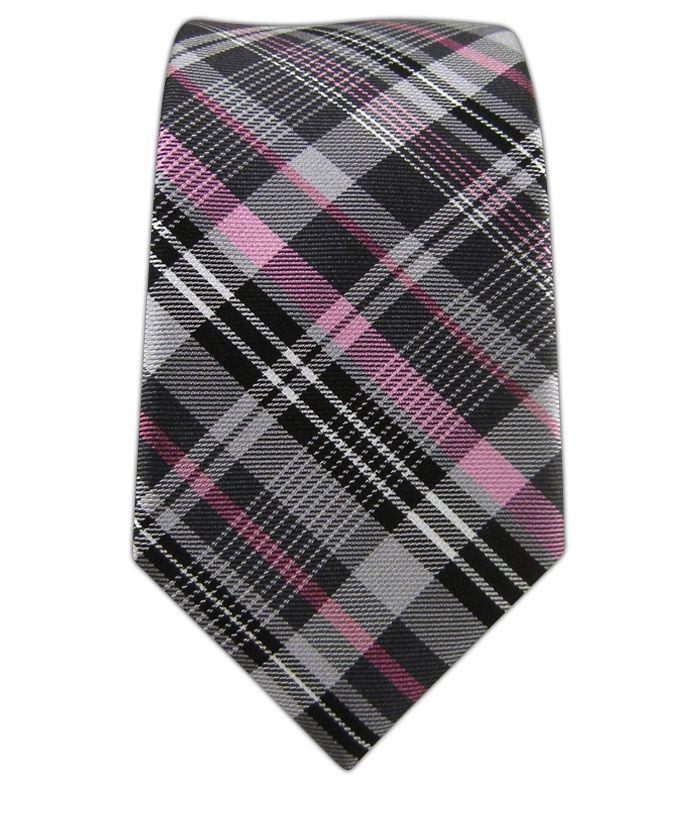 Zenith Plaid - Gray/Pink (Skinny) - Zenith Plaid - Gray/Pink (Skinny) Ties