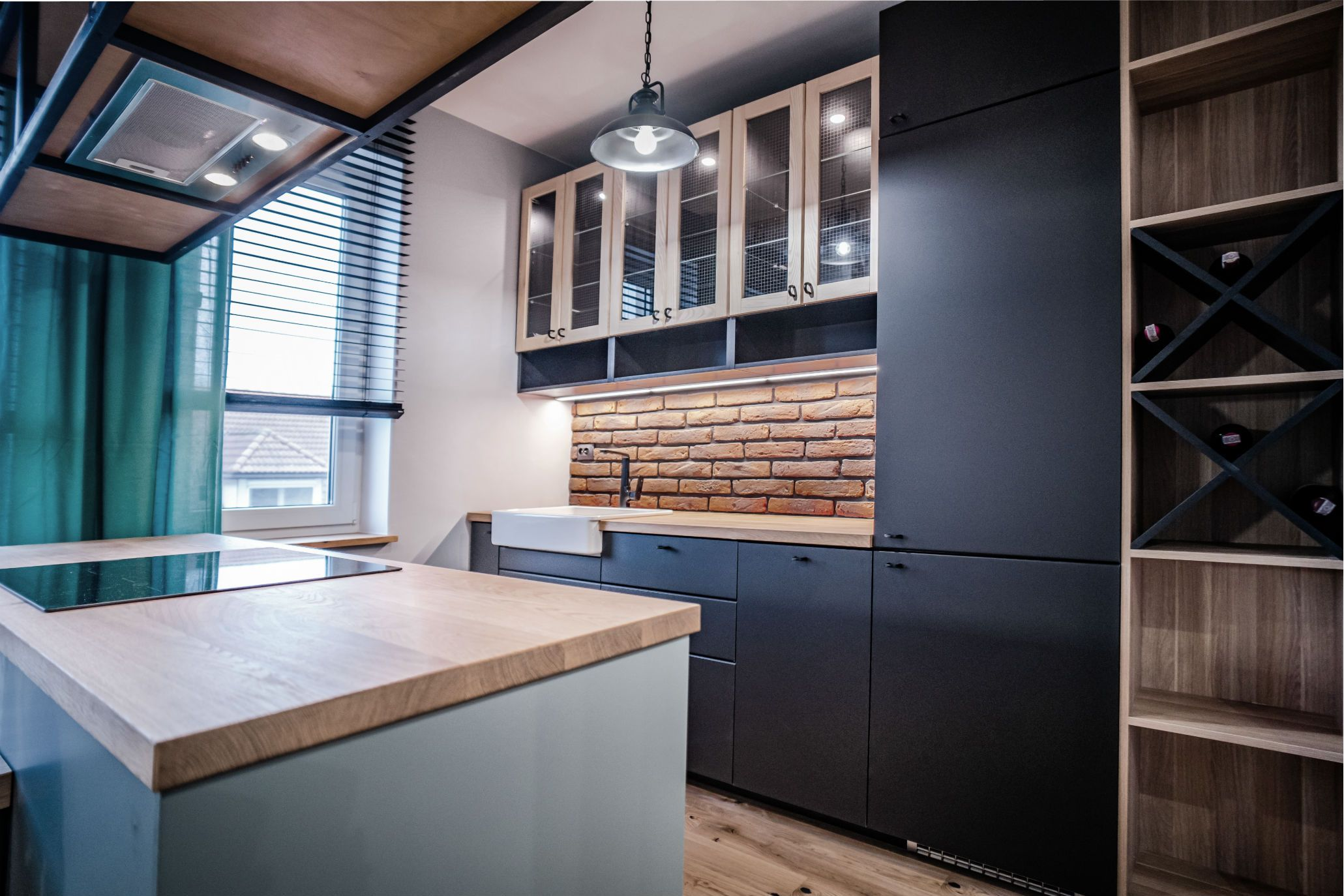 Kuchnia Cegla Drewno I Czern Kitchen Brick Wood Black Kitchen Furniture Design Sweet Home Home