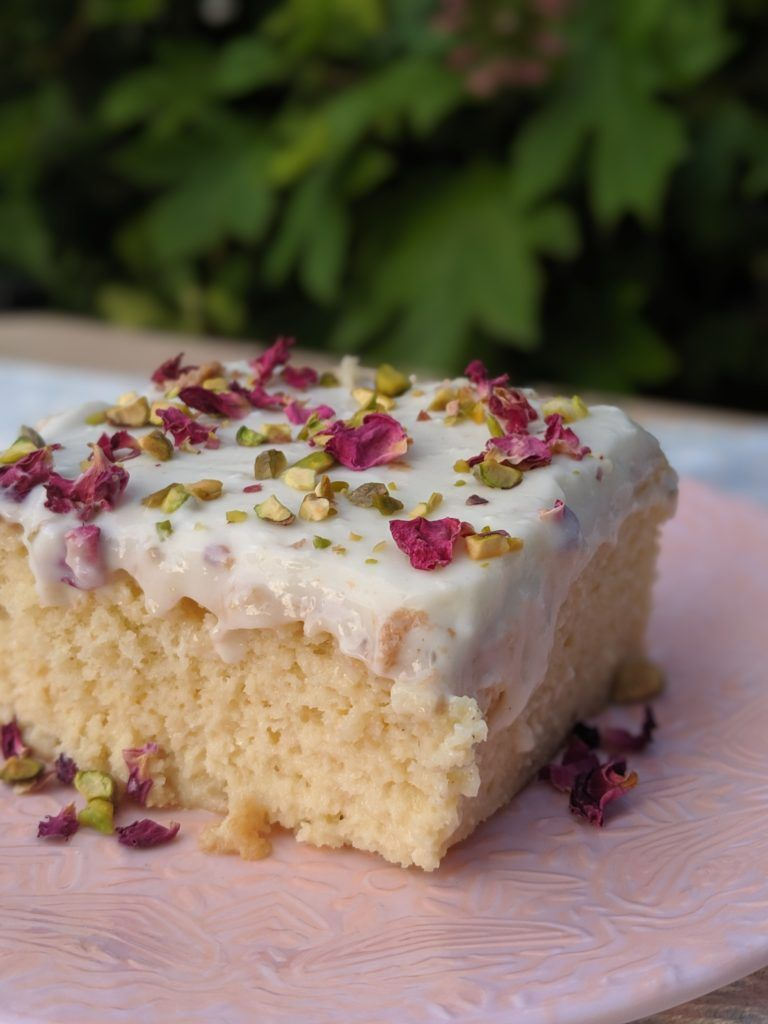 Middle Eastern tres leches with rose, cardamom and pistachios