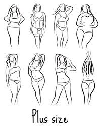 Photo of Similar Images, Stock Photos & Vectors of Set Girl silhouette sketch plus size model. Curvy woman symbol. Vector illustration – 458051707