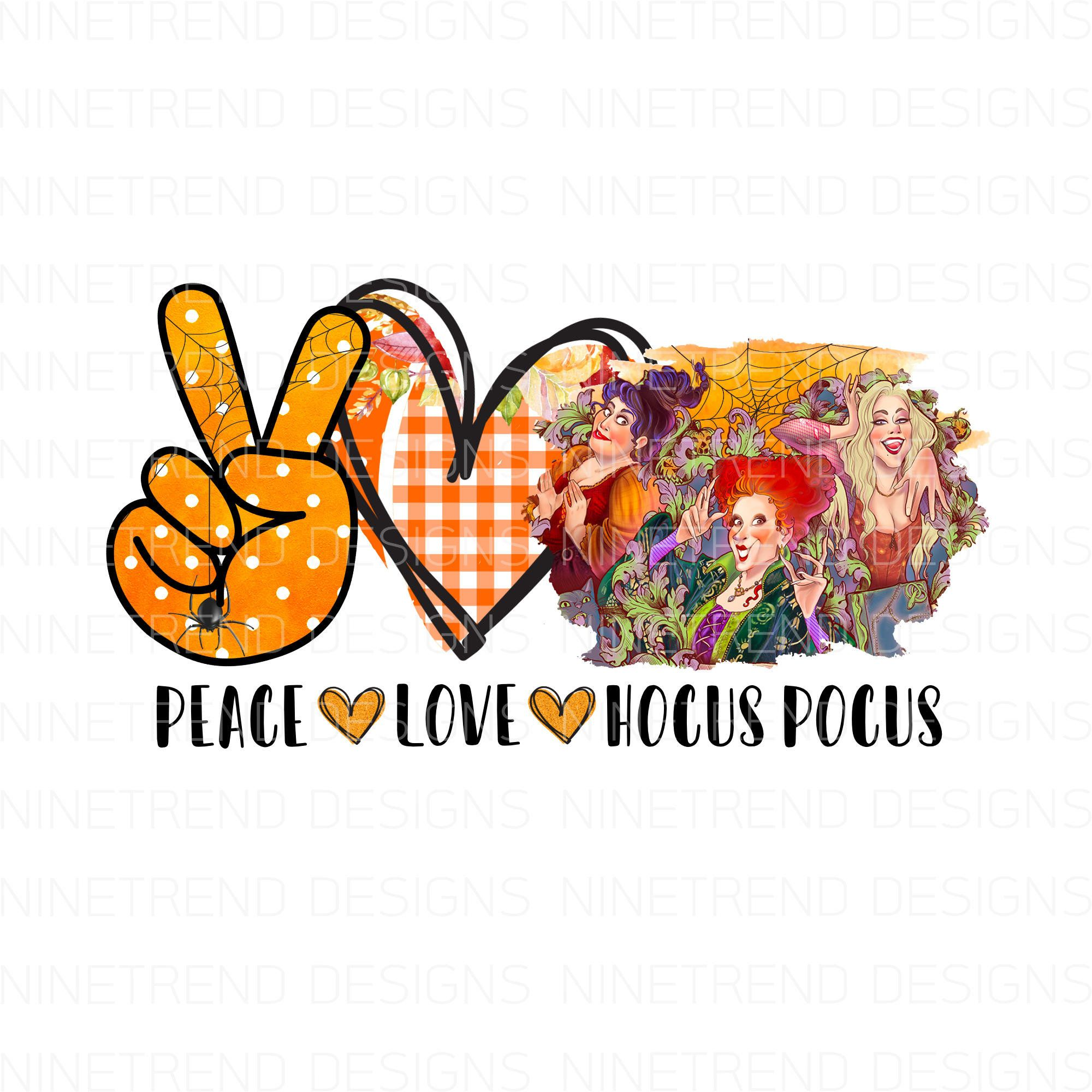 Peace Love Witches Pnghocus Pocus Sublimation Designs Etsy In 2020 Peace And Love Halloween Design Hocus Pocus