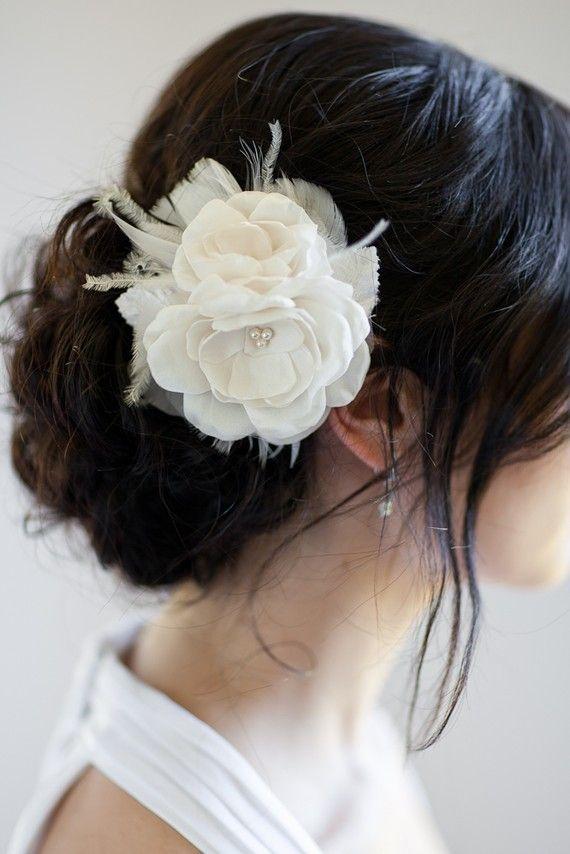AUDRINA Bridal Headpiece Wedding Hair Flowers by percyhandmade, $78.00