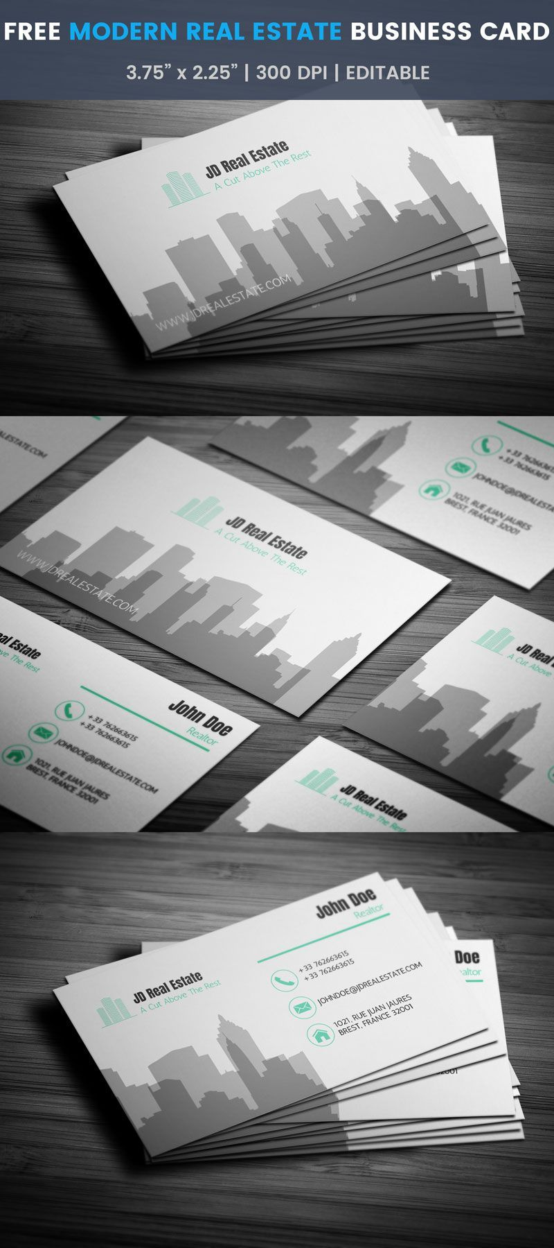 modern real estate business card full preview 名刺デザイン