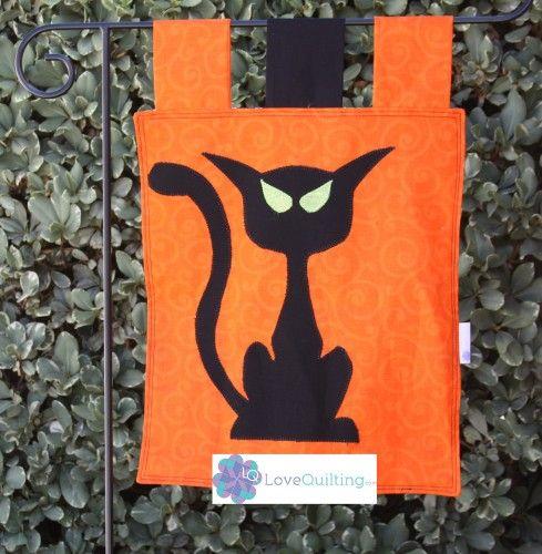 Garden Flag Halloween Cat made with Quilt Fabric