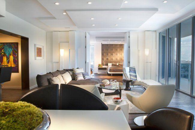 Plafond moderne dans la chambre à coucher et le salon Modern