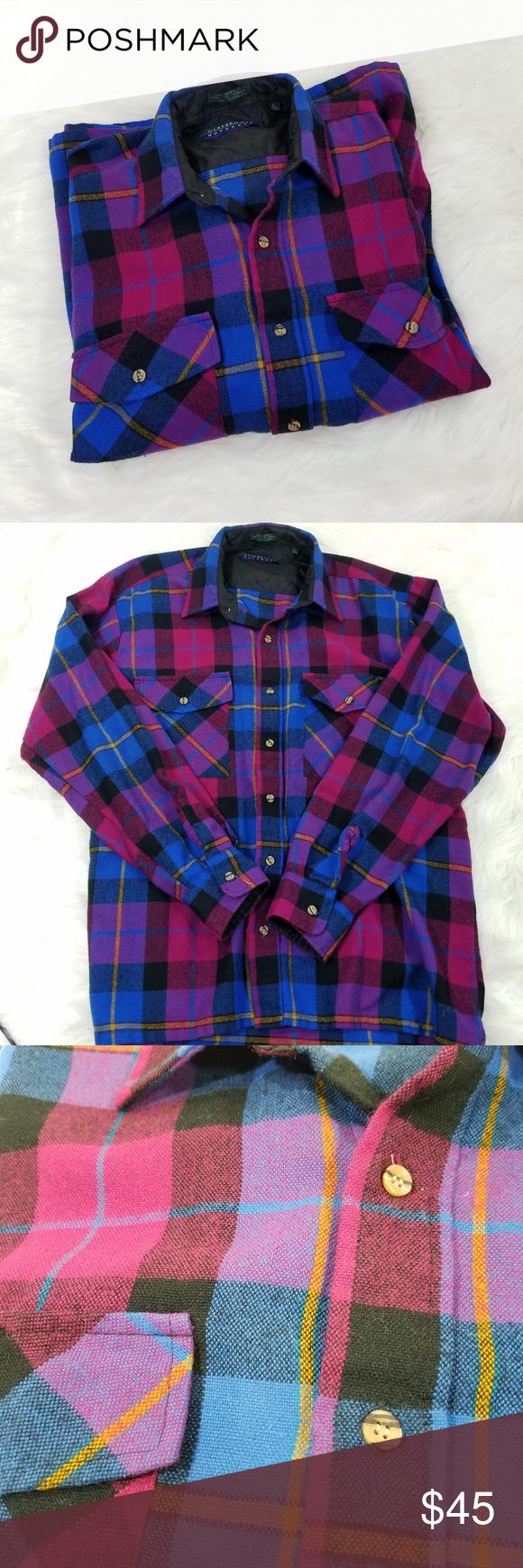 Flannel shirt vintage  Vintage Unisex Pink Tone Plaid Flannel Shirt  My Posh Picks