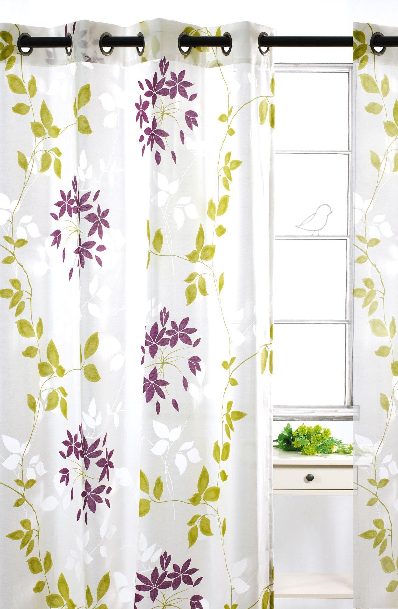 Dreamscape Semi Sheer Floral Burnout Grommet Curtain Panels