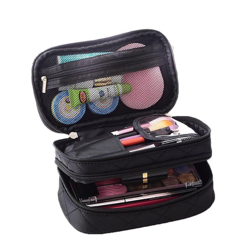 12e1f3d8e36c Lemoncy Travel Makeup Bag Case Portable Makeup Brush Bag Cosmetic ...
