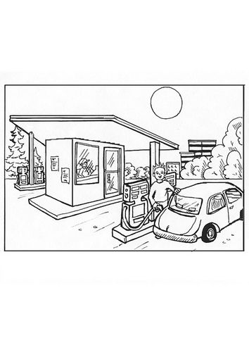Coloring Page Gas Station Coloring Pages Gas Station Free