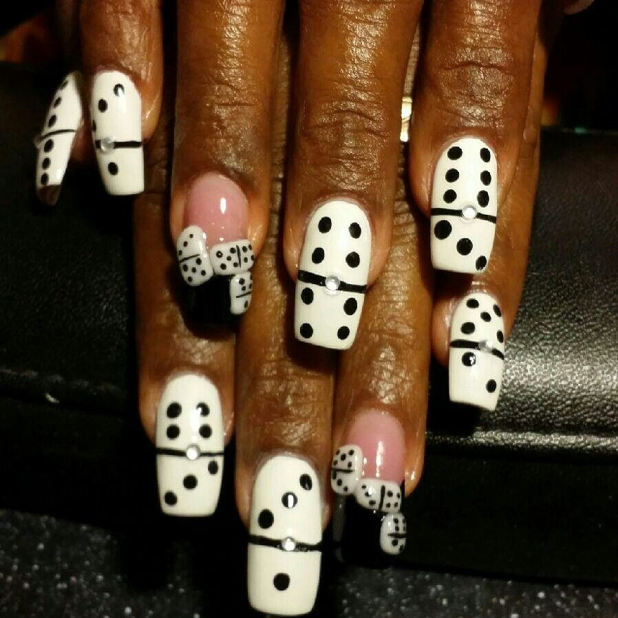 Black and white nail art design 3d black and white Domino design ...