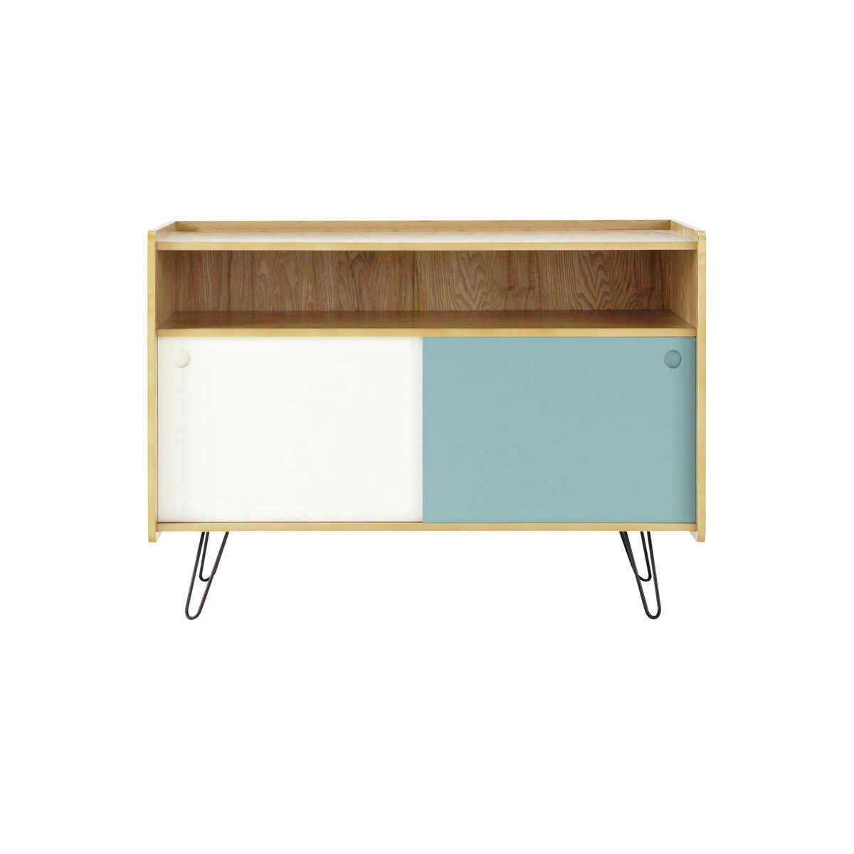 meuble tv vintage en bois blanc et bleu l 105 cm home. Black Bedroom Furniture Sets. Home Design Ideas