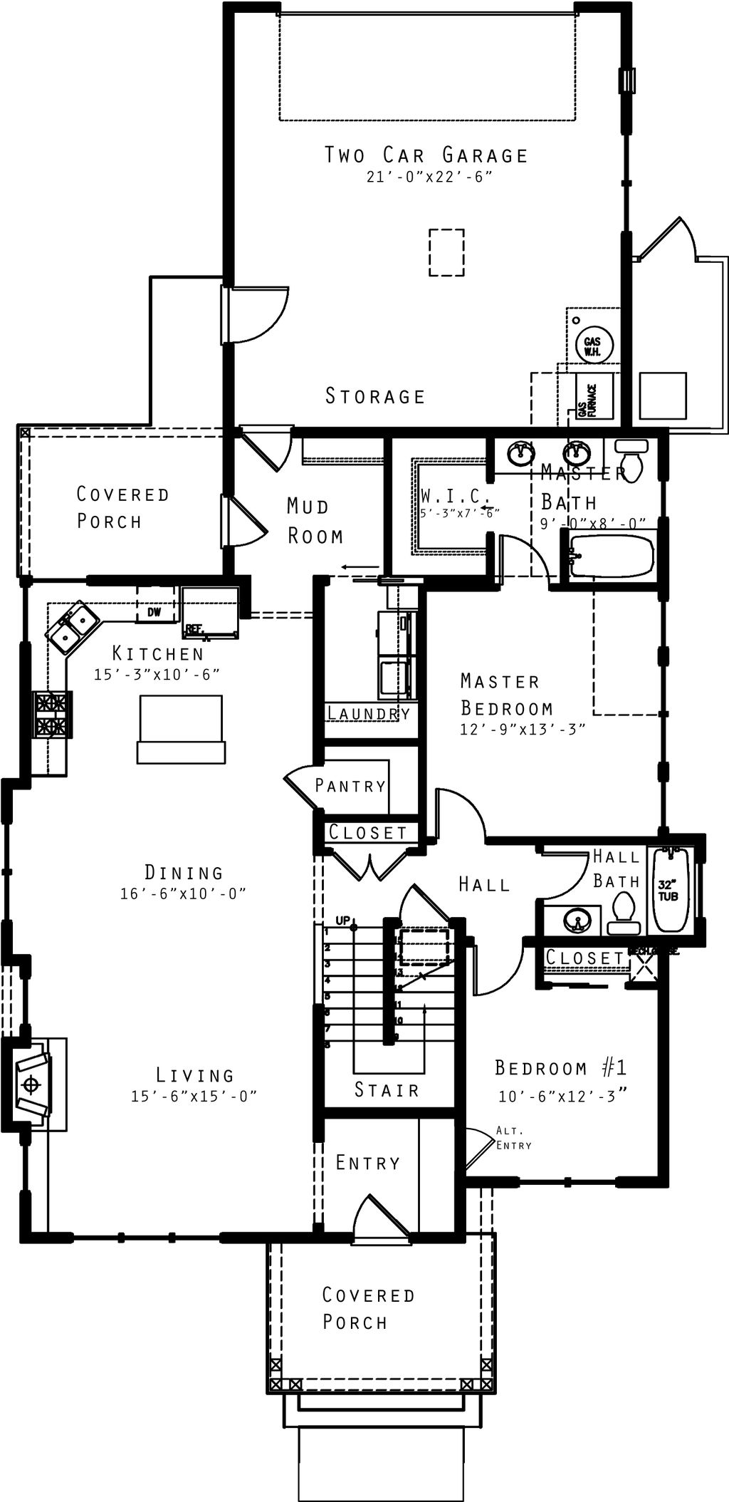 Craftsman Style House Plan - 4 Beds 3.00 Baths 1940 Sq/Ft Plan #434 ...
