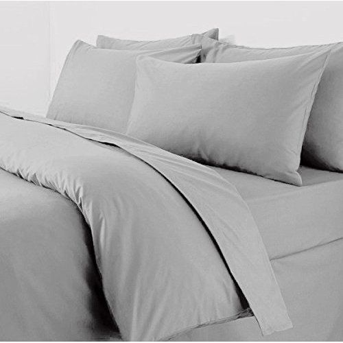 9c5296c1d9 Egyptian cotton duvet cover set plain quilt bedding sets 200 thread count  luxury new (king, grey)