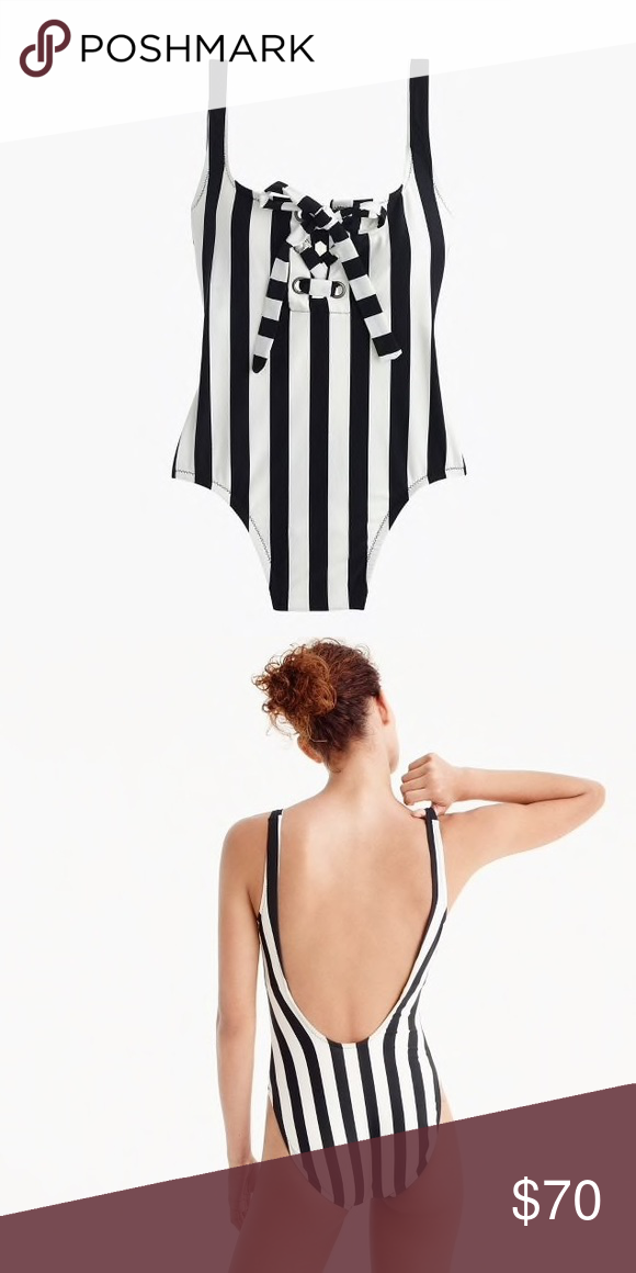 6d684530c57d0 J. Crew one piece swimsuit. Size 12. NWT. NWT J. Crew black and ivory  vertical stripe one piece swimsuit with scoop back. Lace-up front adds some  additional ...