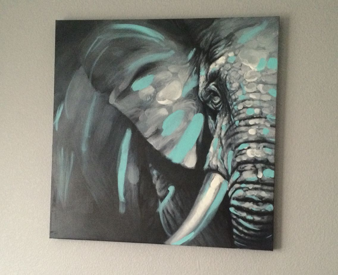 Just Painted A Grey White And Tiffany Blue Elephant For