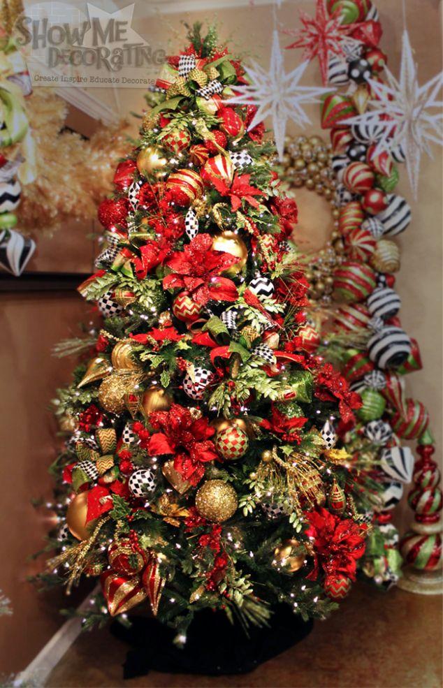 CHristmas Sparkle Christmas tree theme, red velvet ribbon, red poinsettias,  lime green,