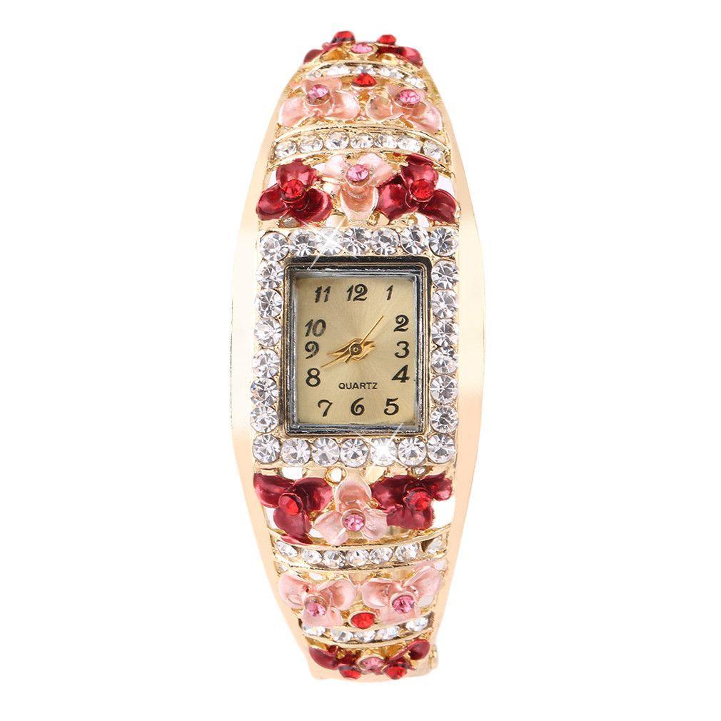 Square Type Bracelet Lady Quartz Wrist Watches 6 Color Optional bluepurplegrey bluebrown goldmulticolorpink