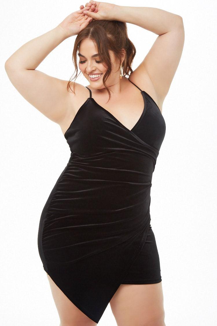 f1db3cf530 Plus Size Velvet Faux-Wrap Dress | Forever 21 | Faux wrap dress ...