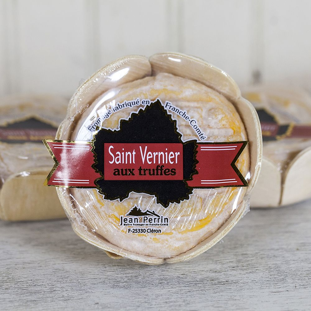 St Vernier With Truffle This Cows Milk Cheese From The Jura In France Has A White Wine Washed Rind And Is Stuffed Wit Truffles Milk And Cheese Black Truffle