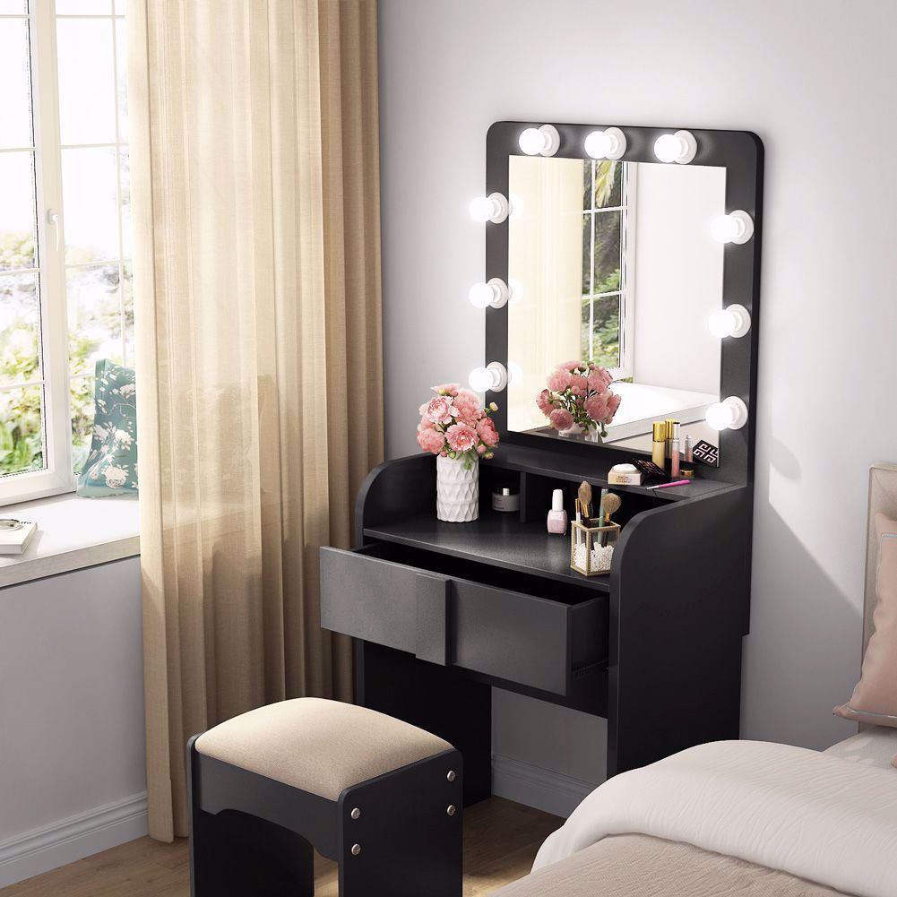 Vanity Set With 9 Led Lights And Large Mirror Soft And Not Dazzling Light Source Hight Brightness And Re In 2020 Vanity Table Set Vanity Set With Mirror Vanity Table