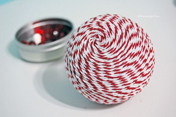 Satin cord/braid Christmas ball - would also look great done in jute or hemp