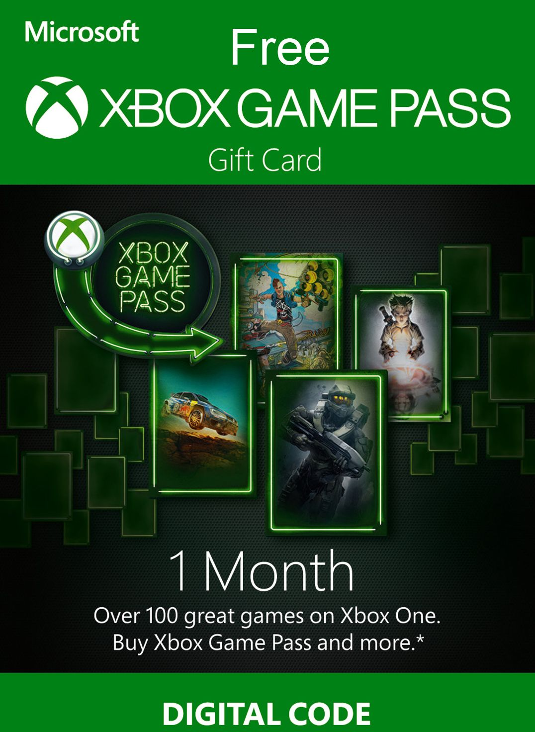 Free Xbox gift card code. Play free games one month or