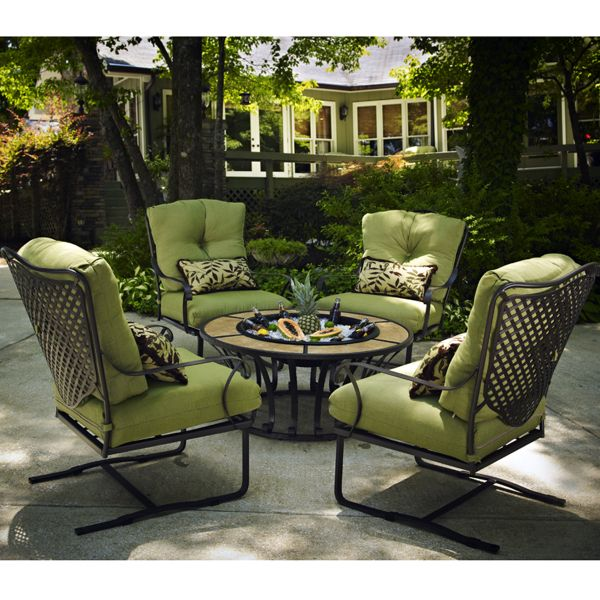 Wrought Iron Patio Furniture With Fire, Dineli Patio Furniture Sectional Sofa With Gas Fire Pit Table Outdoor