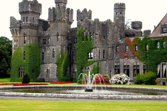 Ashford Castle & Hotel, county Mayo, Ireland. Featured in Nora Roberts' Cousins O'Dwyer Trilogy. I am reading the first which is called 'Dark Witch'. Nora Roberts does such a good job of painting the picture of this place in your imagination. I want to visit Ireland!!! :)