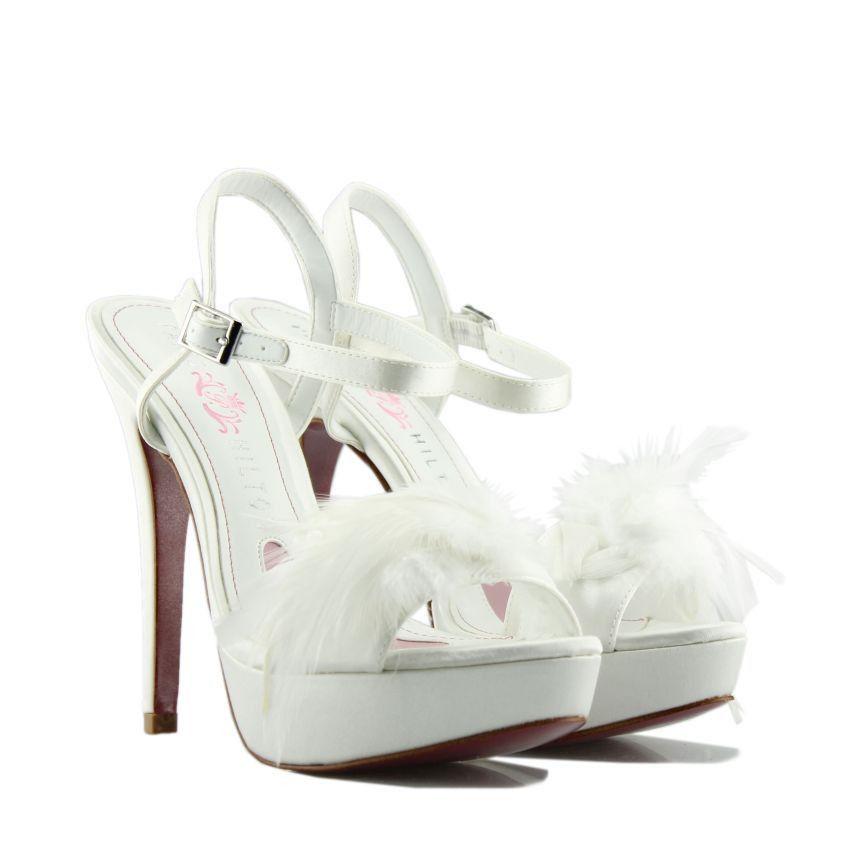 cd5f262887e PARIS HILTON White Bridal Satin High-heeled Sandals. Γυναικεία λευκά σατέν  νυφικά πέδιλα.