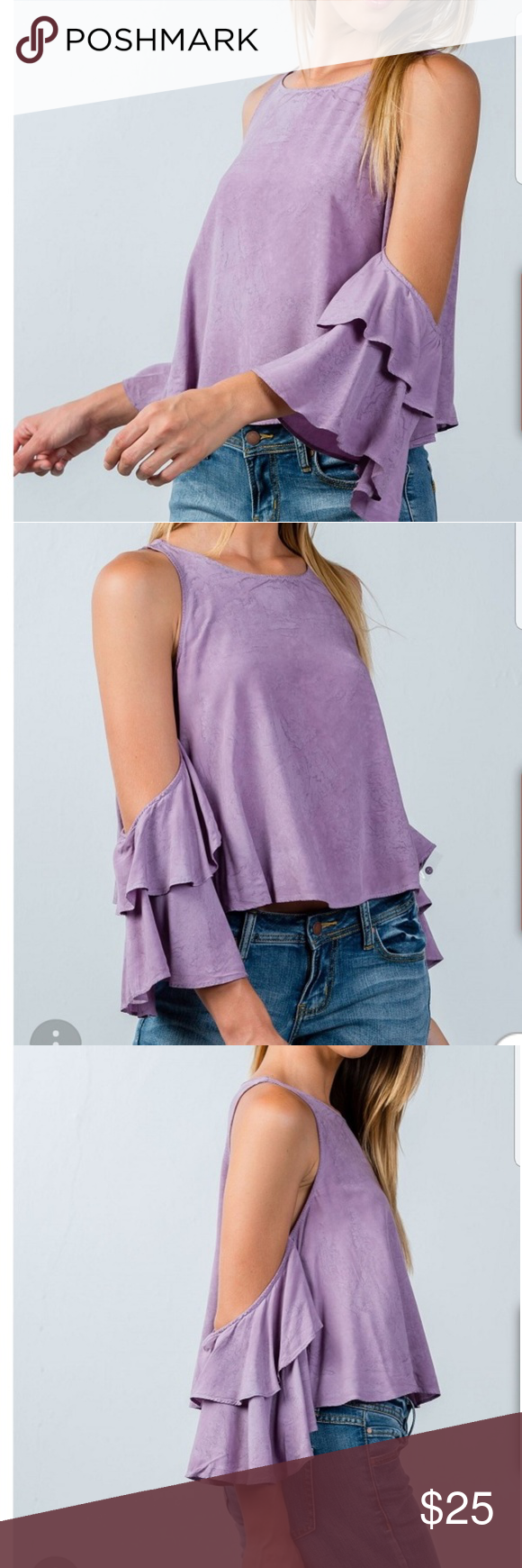 a78d8ec97f58ae Purple Back keyhole open shoulder batwing blouse New purple blouse! Has a back  keyhole and open shoulders. Batwing style sleeves. 100% rayon. Tops Blouses