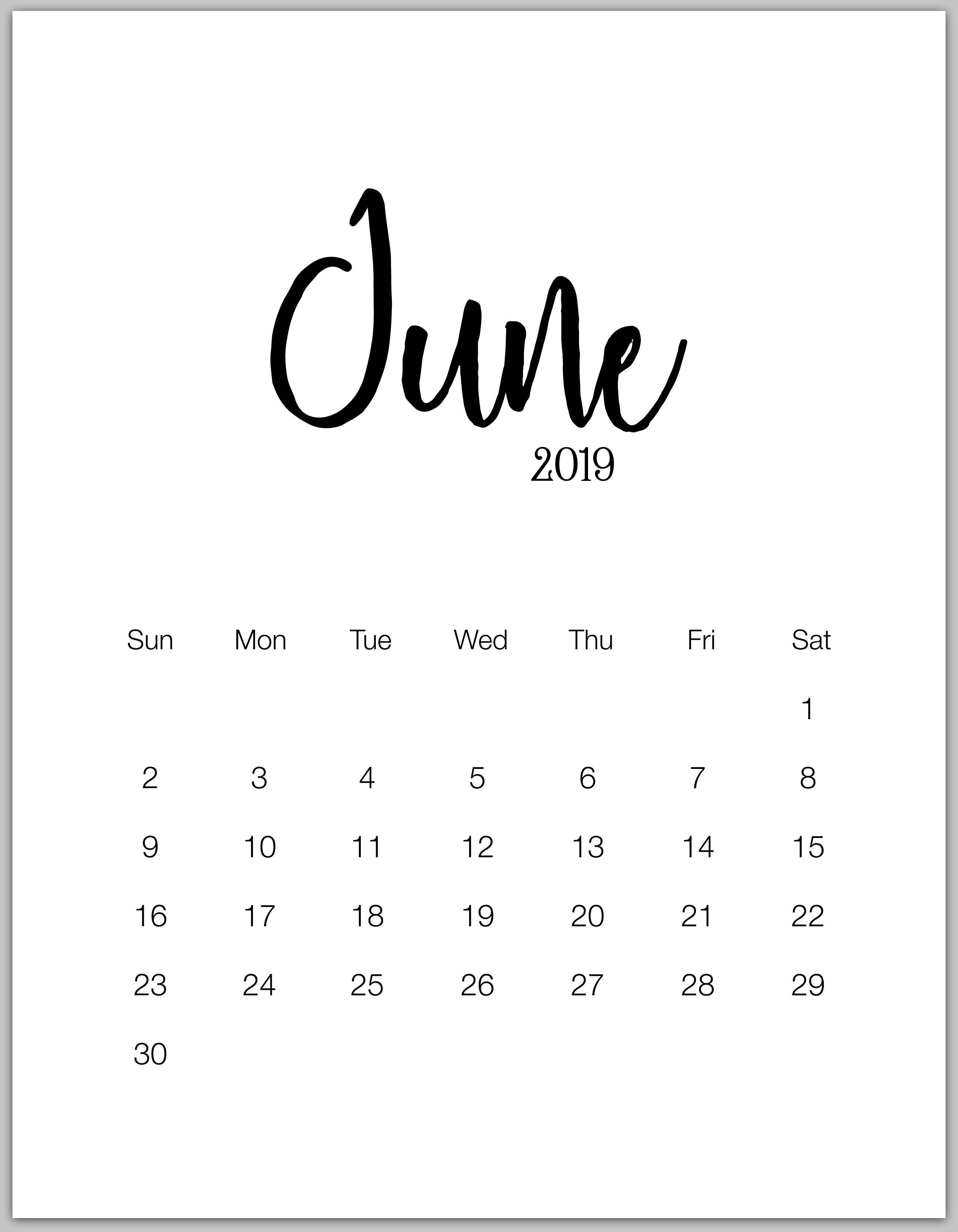 June Minimalist Calendar