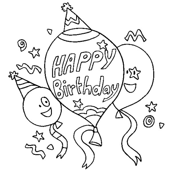 - Happy Three Balloons Coloring Pages : Best Place To Color