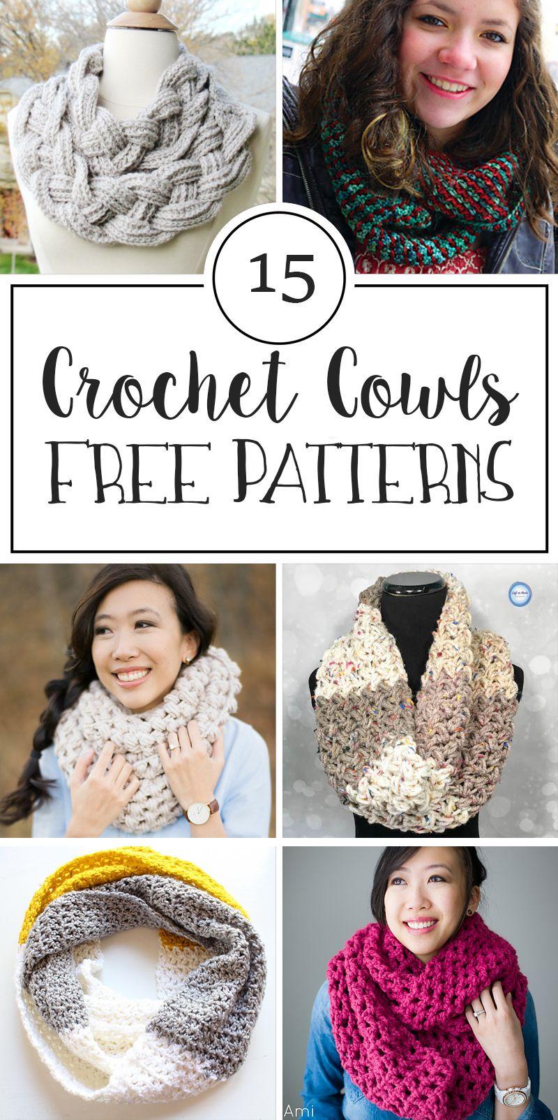 15 Free Patterns for Crochet Cowls   Escarpines tejidos, Escarpines ...