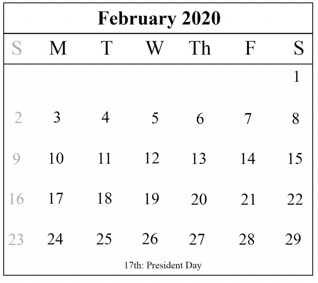 2020 Calendar Printable Portrait: Blank February 2020 Calendar Printable Template