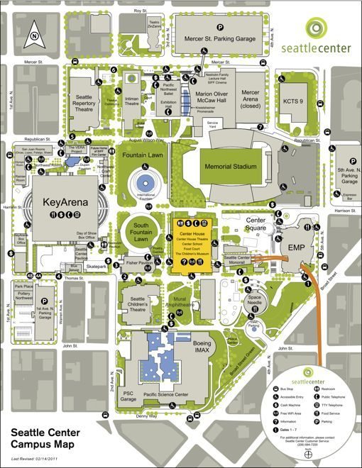Seattle Center Area Map Seattle Campus Map Fountain Plaza