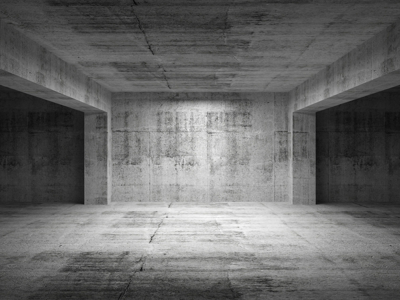 Concrete Room White Bed
