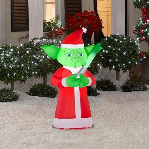 star wars yoda lighted airblown inflatable father christmas santa - Star Wars Inflatable Christmas Decorations