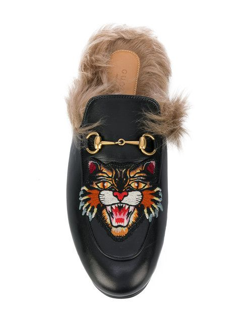 1c74092289 Gucci Tiger Patch Princetown Fur Lined Mules | >>footwear<< | Gucci ...