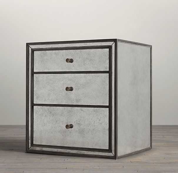 Strand Mirrored Closed Nightstand Apartment Makeover Modern