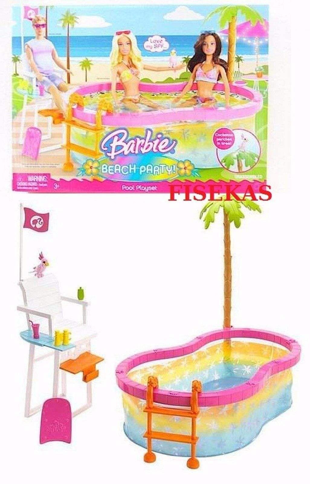 Barbie Beach Party Pool Playset Bird Lifeguard Chair Set 2008 N4949 ...