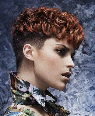 short brown curly coloured multi-tonal shaved-sides womens ...