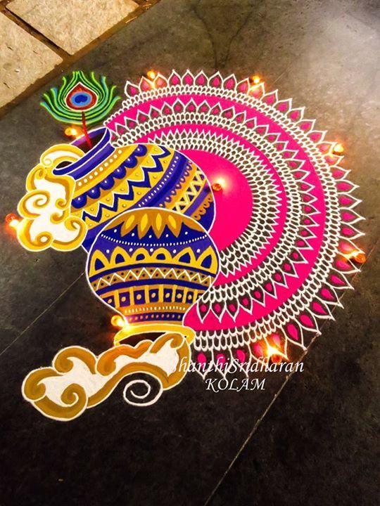 Pink Blue Krishnajayanthi Mandala Kolam Rangoli Designs