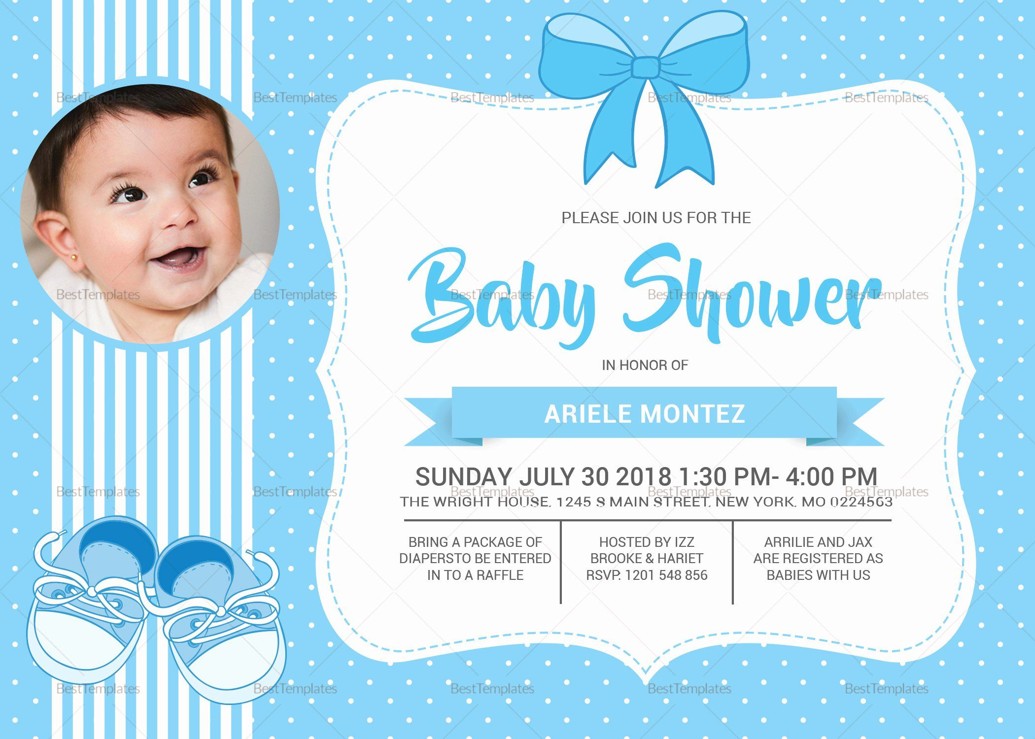 Baby Shower Card Template Inspirational Baby Shower Blue Invitation Card De In 2020 Baby Shower Invitation Cards Baby Shower Invitations Design Baby Shower Invitations
