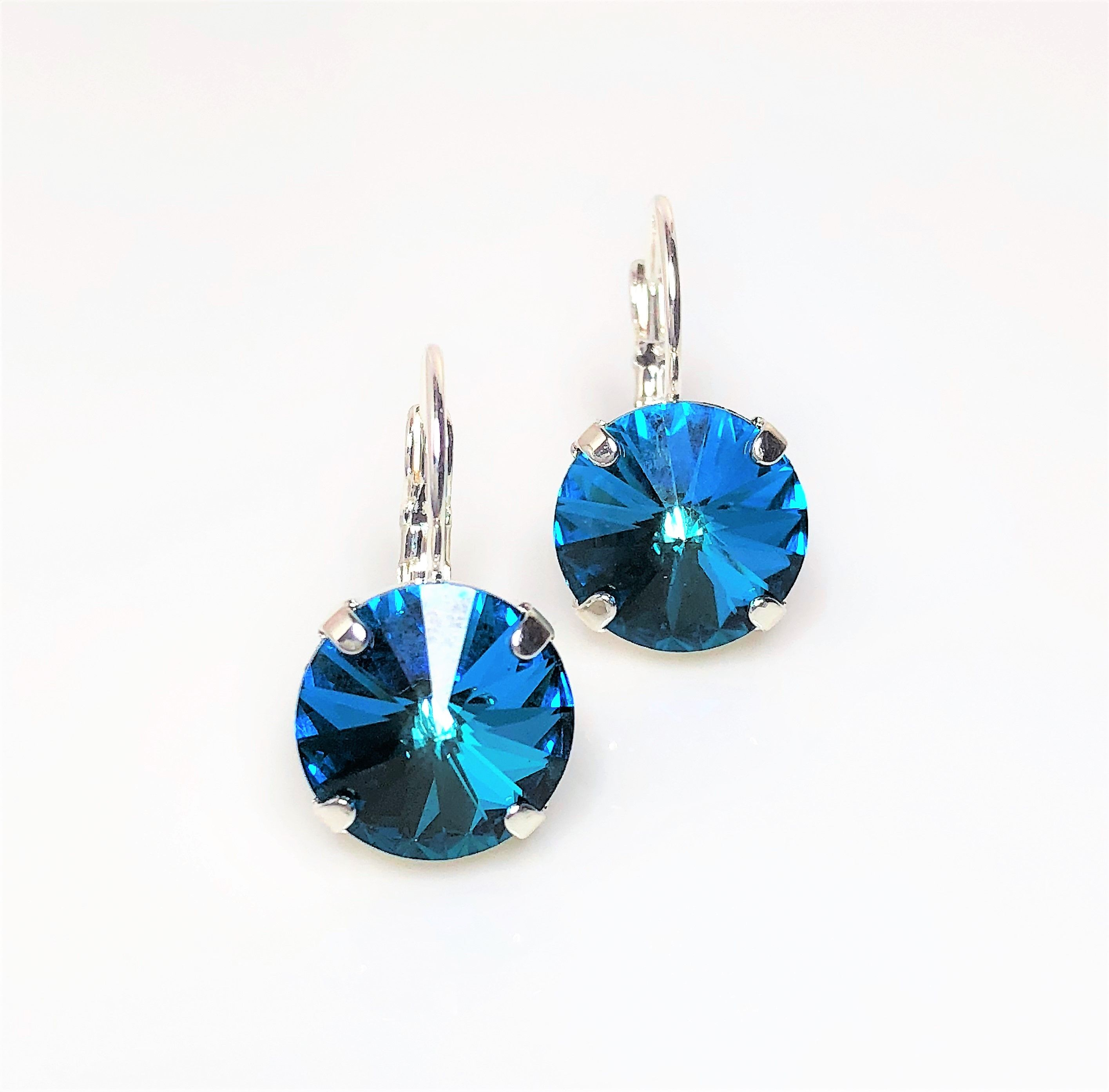 Blue Swarovski Stud Earrings Uk in 2020 Blue crystal